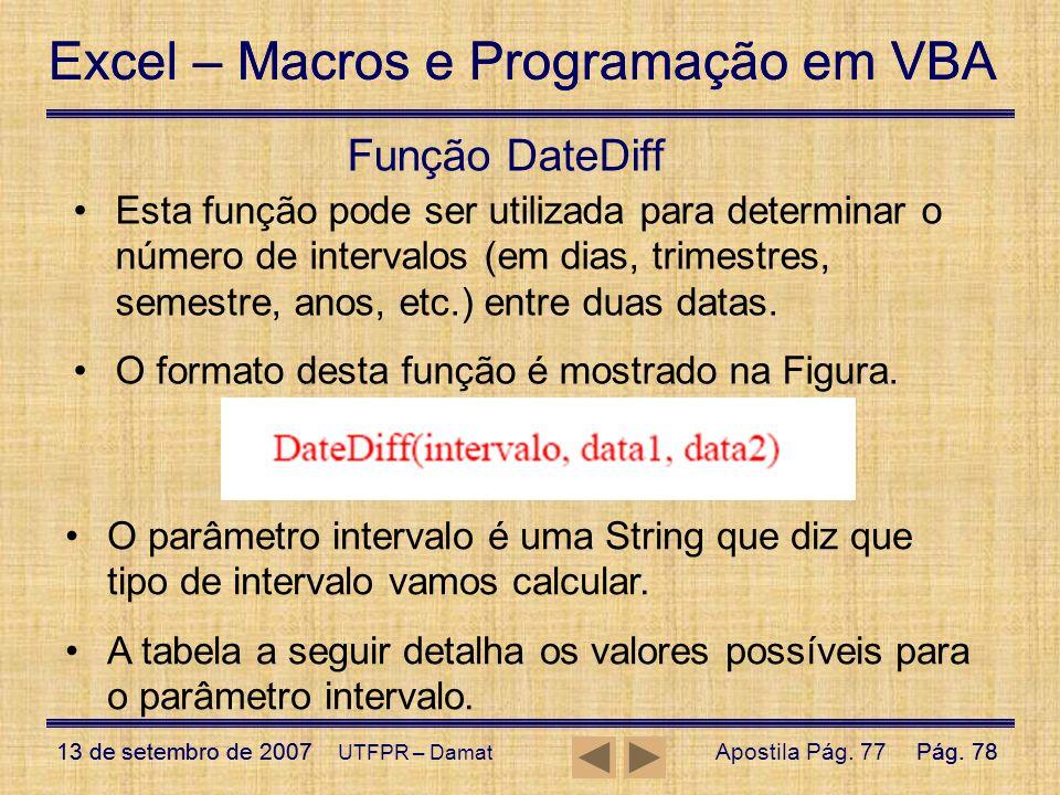 Função DateDiff Esta função pode ser utilizada para determinar o número de intervalos (em dias, trimestres, semestre, anos, etc.) entre duas datas.
