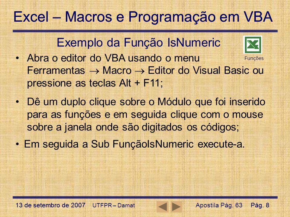Exemplo da Função IsNumeric