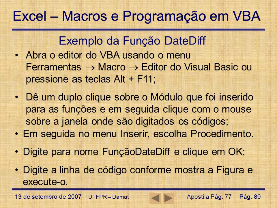 Exemplo da Função DateDiff