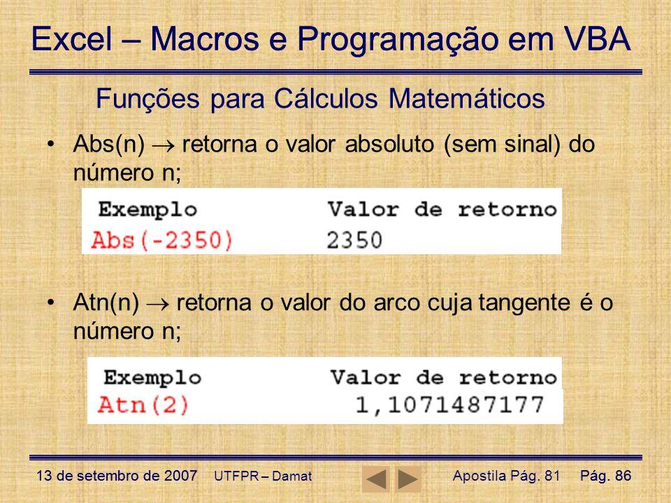 Funções para Cálculos Matemáticos