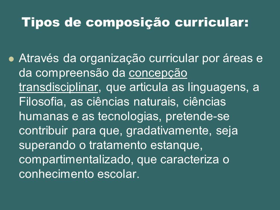 Tipos de composição curricular: