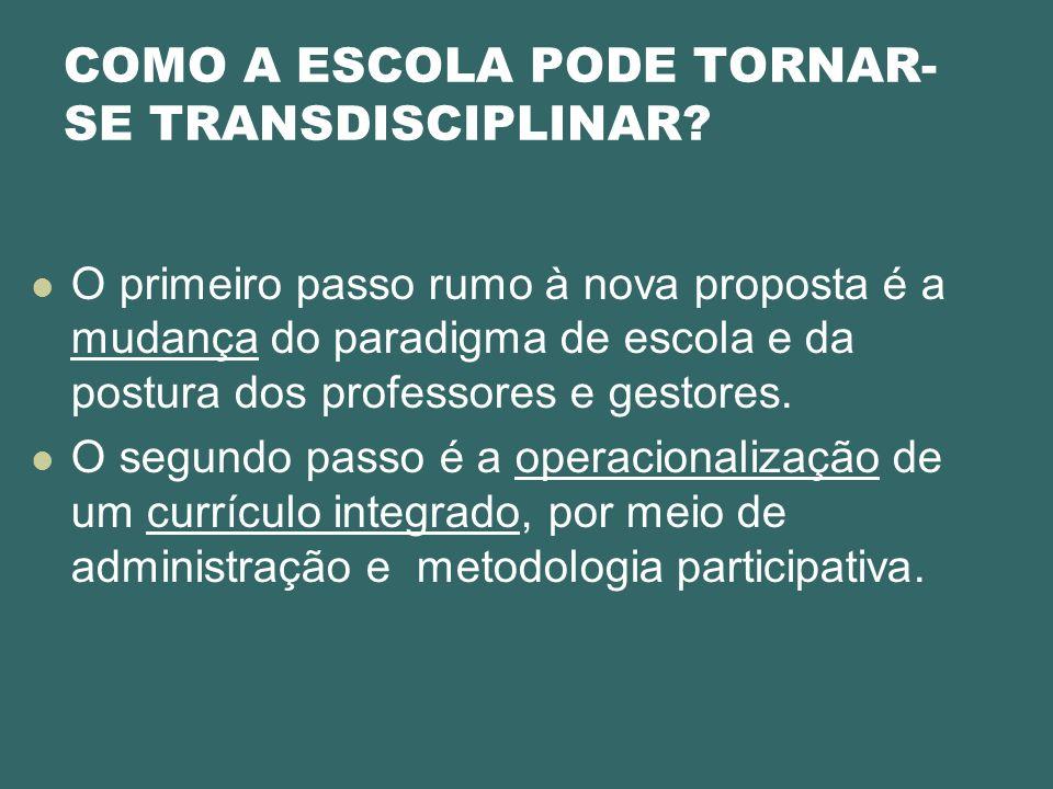 COMO A ESCOLA PODE TORNAR-SE TRANSDISCIPLINAR