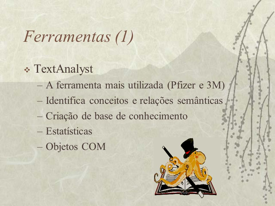 Ferramentas (1) TextAnalyst A ferramenta mais utilizada (Pfizer e 3M)