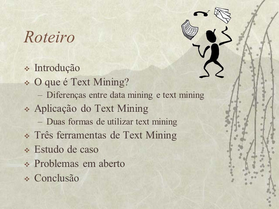Roteiro Introdução O que é Text Mining Aplicação do Text Mining