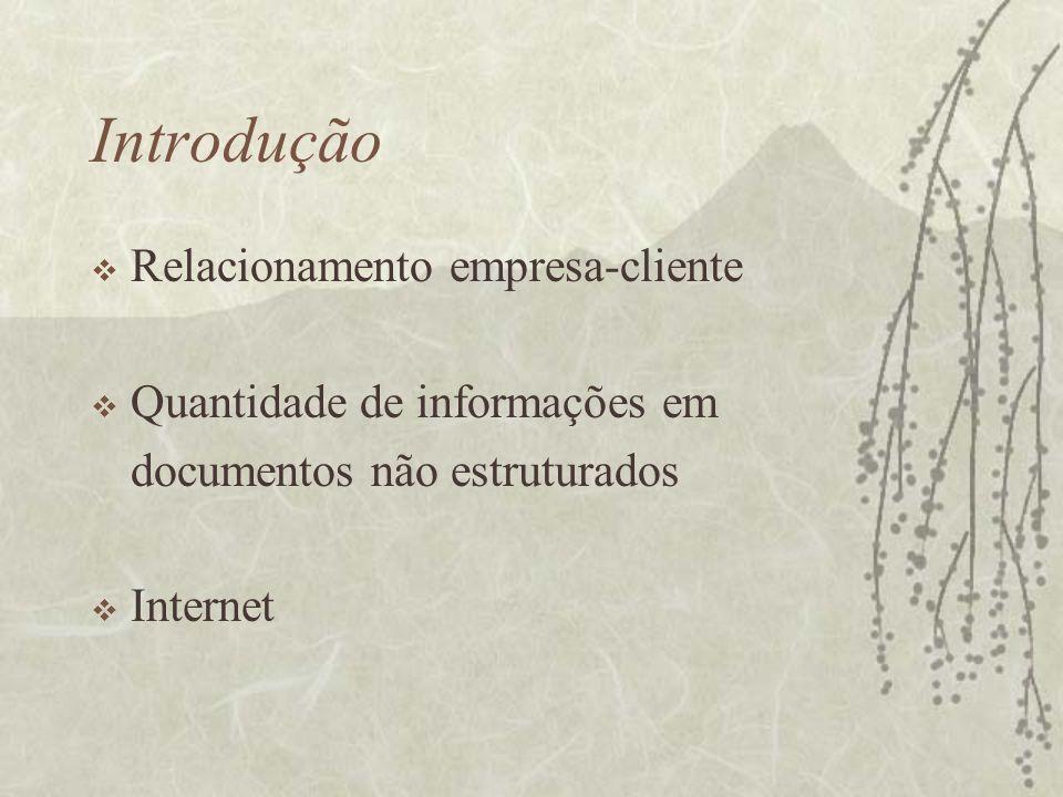 Introdução Relacionamento empresa-cliente Quantidade de informações em