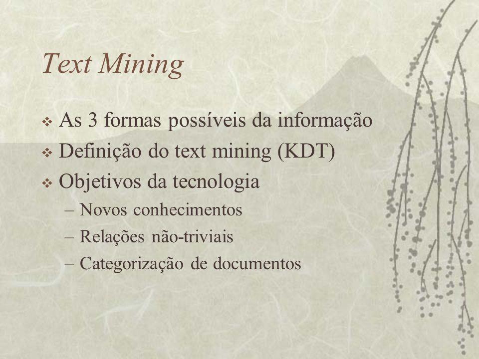 Text Mining As 3 formas possíveis da informação
