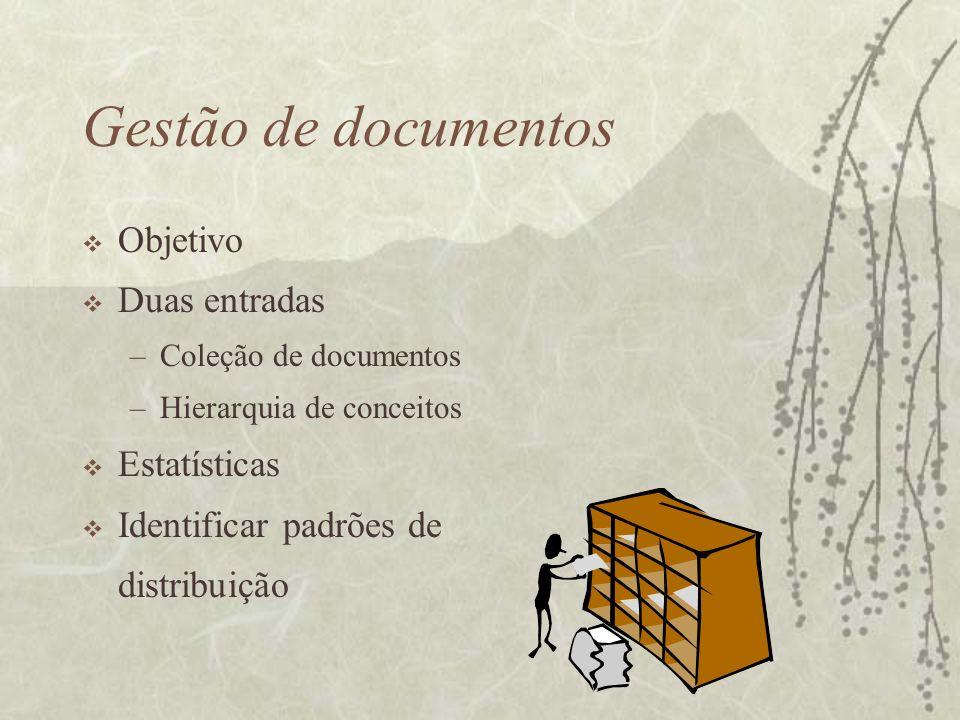 Gestão de documentos Objetivo Duas entradas Estatísticas