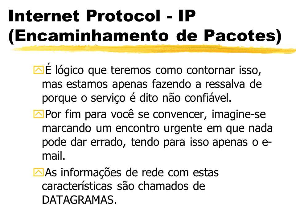 Internet Protocol - IP (Encaminhamento de Pacotes)