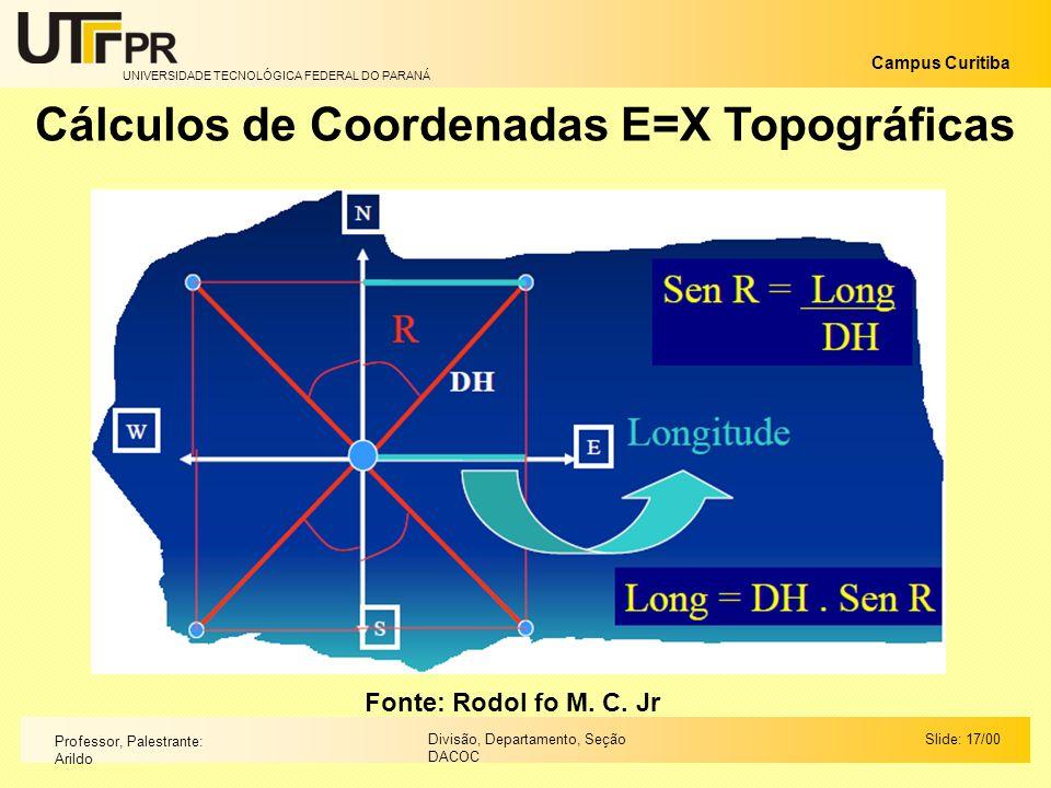 Cálculos de Coordenadas E=X Topográficas
