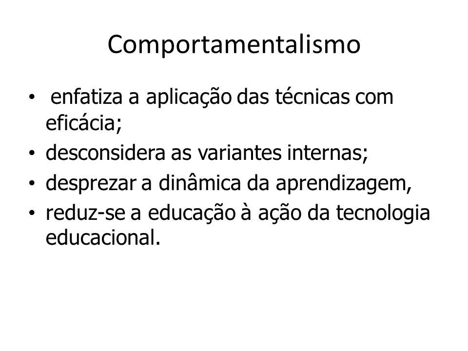 Comportamentalismo enfatiza a aplicação das técnicas com eficácia;