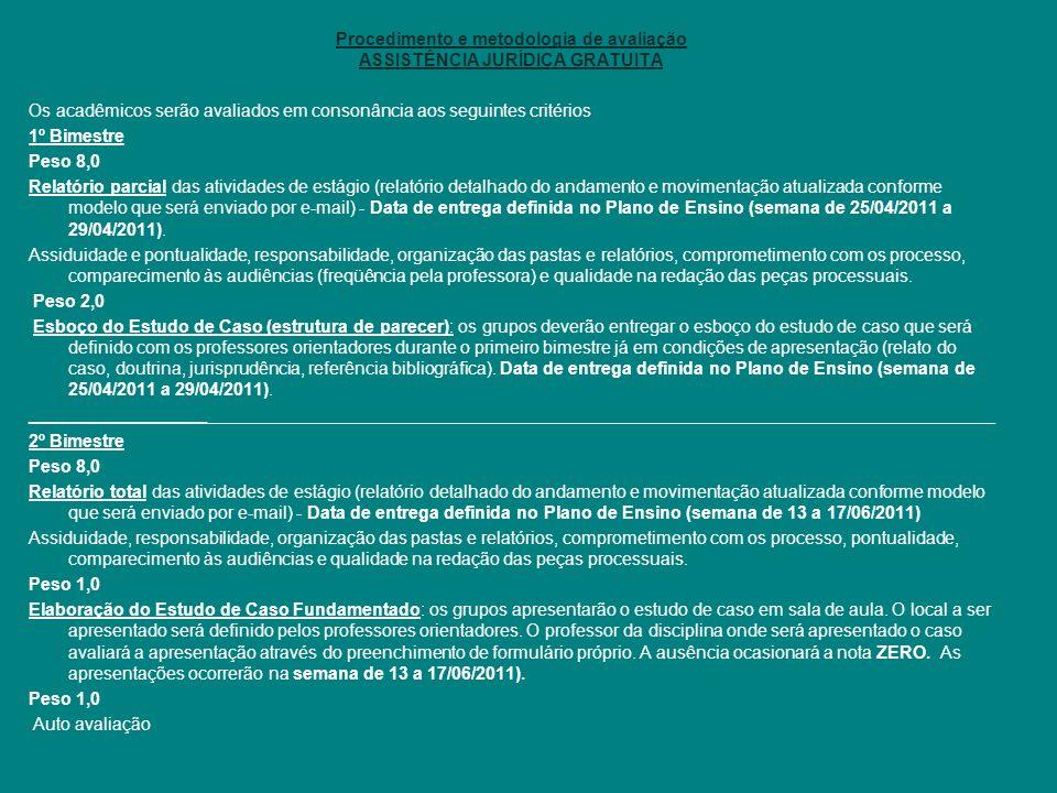 Procedimento e metodologia de avaliação ASSISTÊNCIA JURÍDICA GRATUITA
