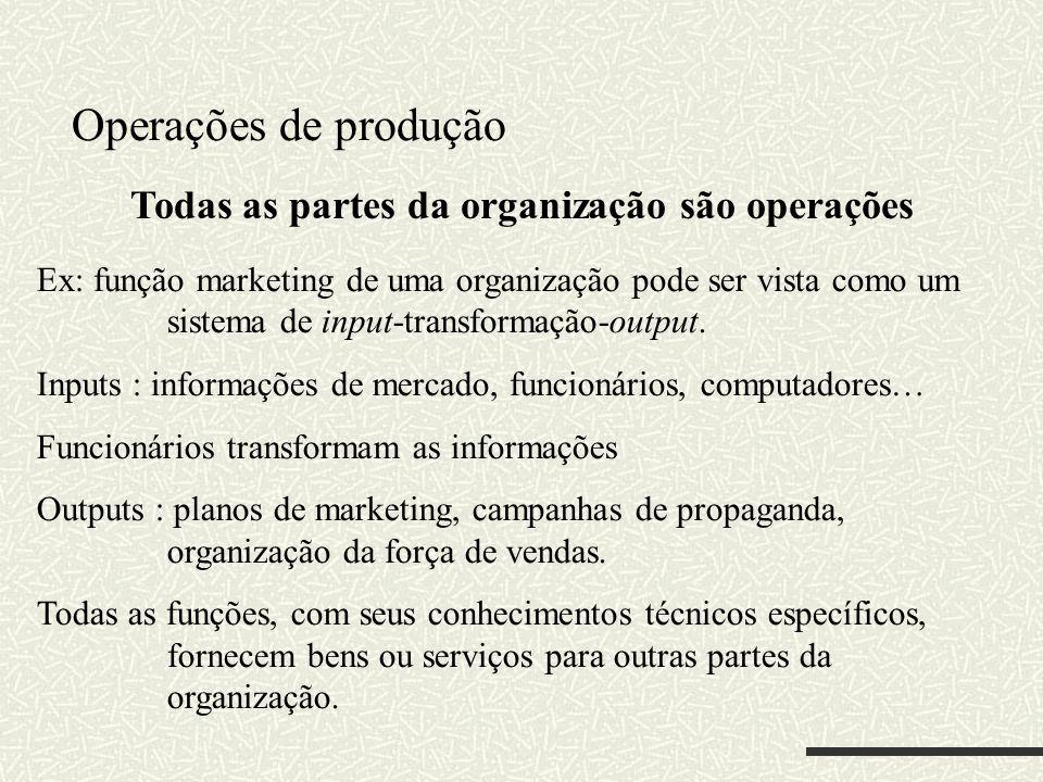 Todas as partes da organização são operações