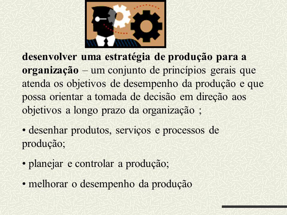 desenvolver uma estratégia de produção para a organização – um conjunto de princípios gerais que atenda os objetivos de desempenho da produção e que possa orientar a tomada de decisão em direção aos objetivos a longo prazo da organização ;