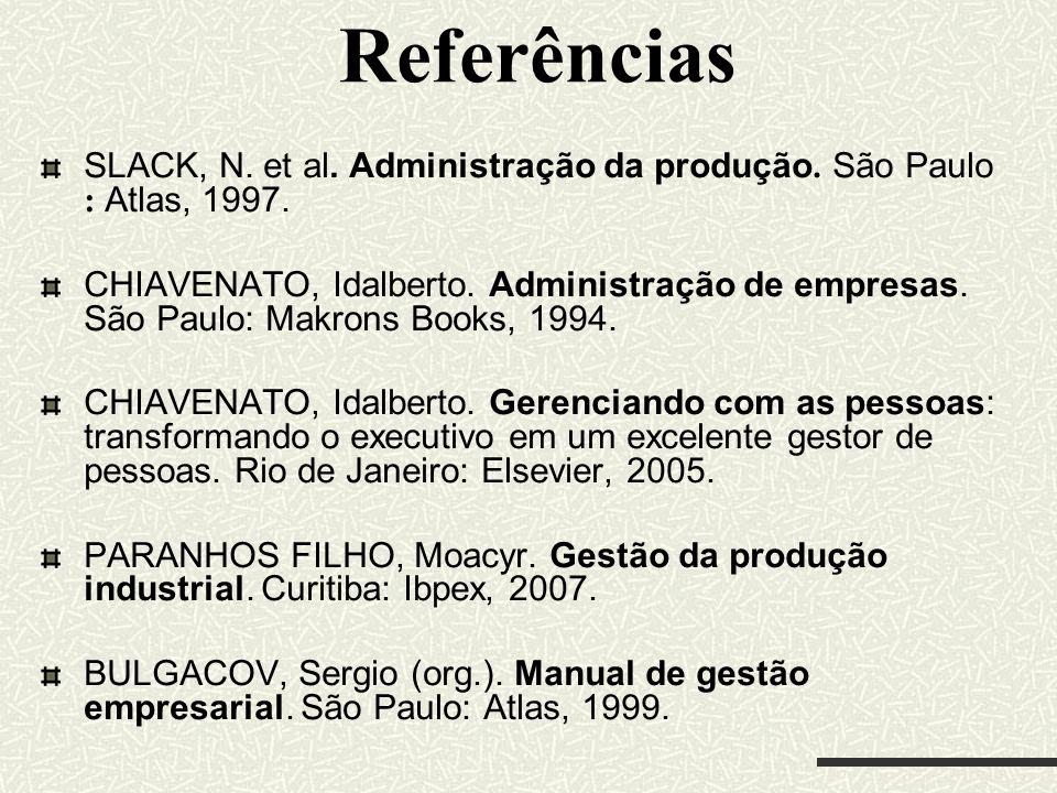 Referências SLACK, N. et al. Administração da produção. São Paulo : Atlas, 1997.