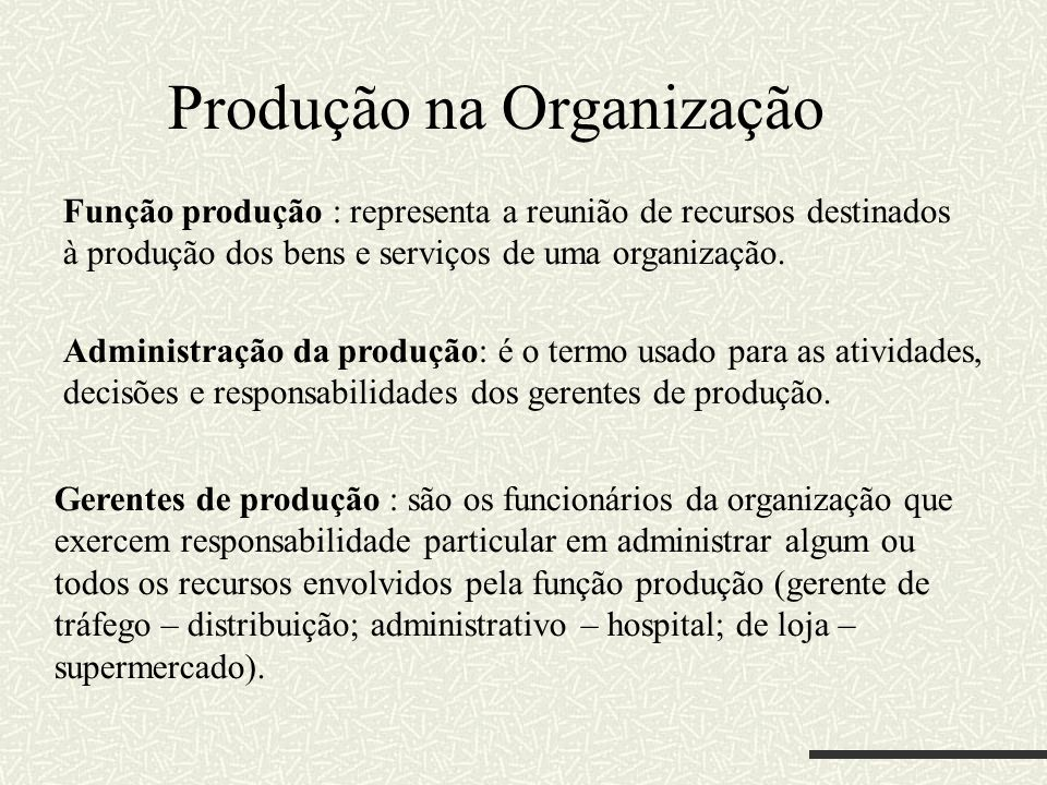 Produção na Organização