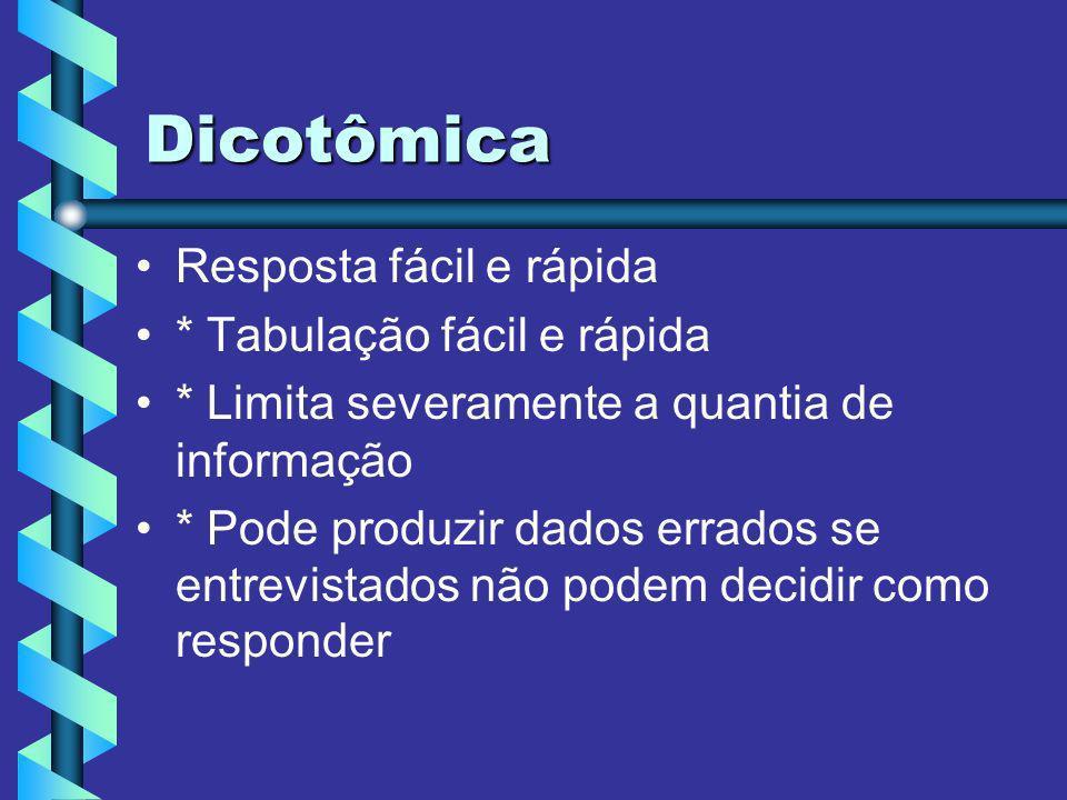 Dicotômica Resposta fácil e rápida * Tabulação fácil e rápida