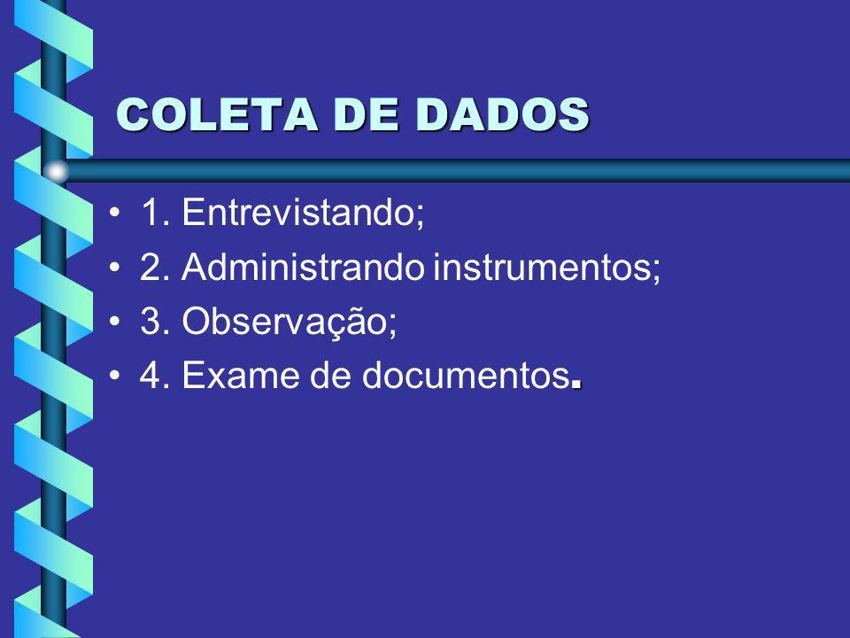 COLETA DE DADOS 1. Entrevistando; 2. Administrando instrumentos;