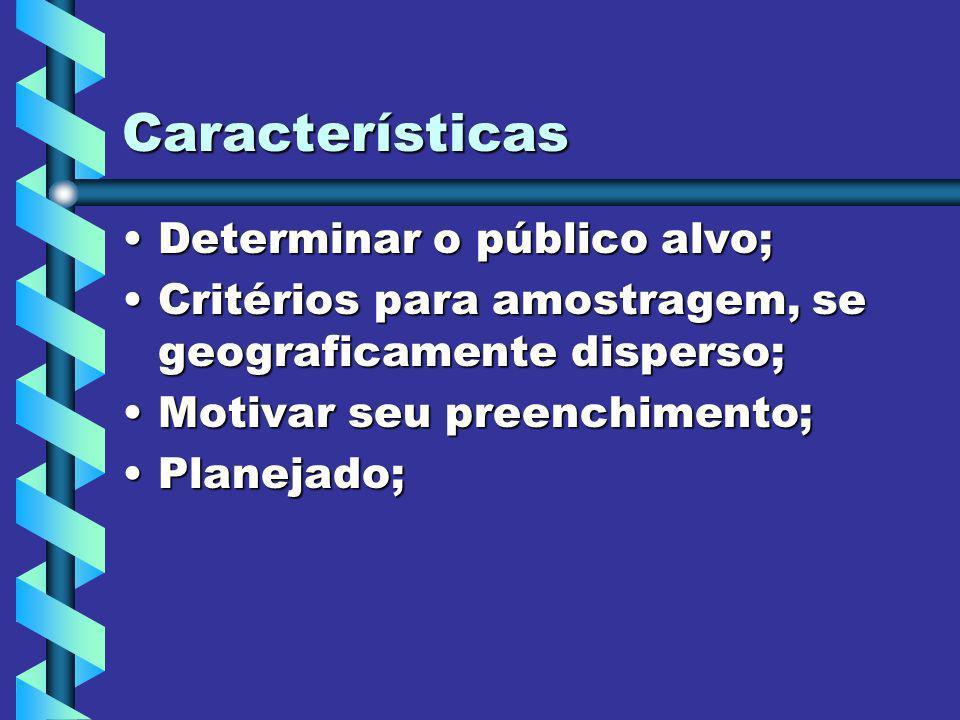Características Determinar o público alvo;