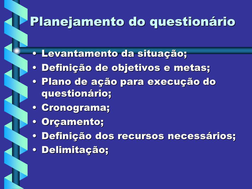 Planejamento do questionário