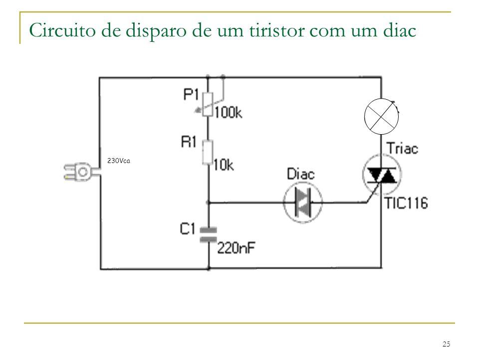 Circuito de disparo de um tiristor com um diac