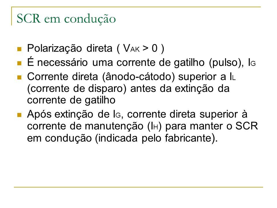 SCR em condução Polarização direta ( VAK > 0 )