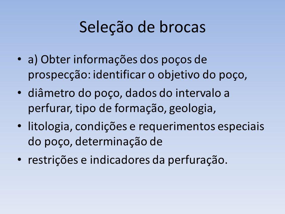 Seleção de brocas a) Obter informações dos poços de prospecção: identificar o objetivo do poço,