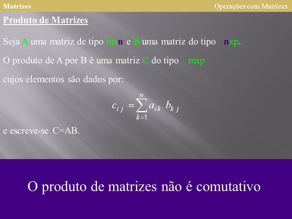 O produto de matrizes não é comutativo