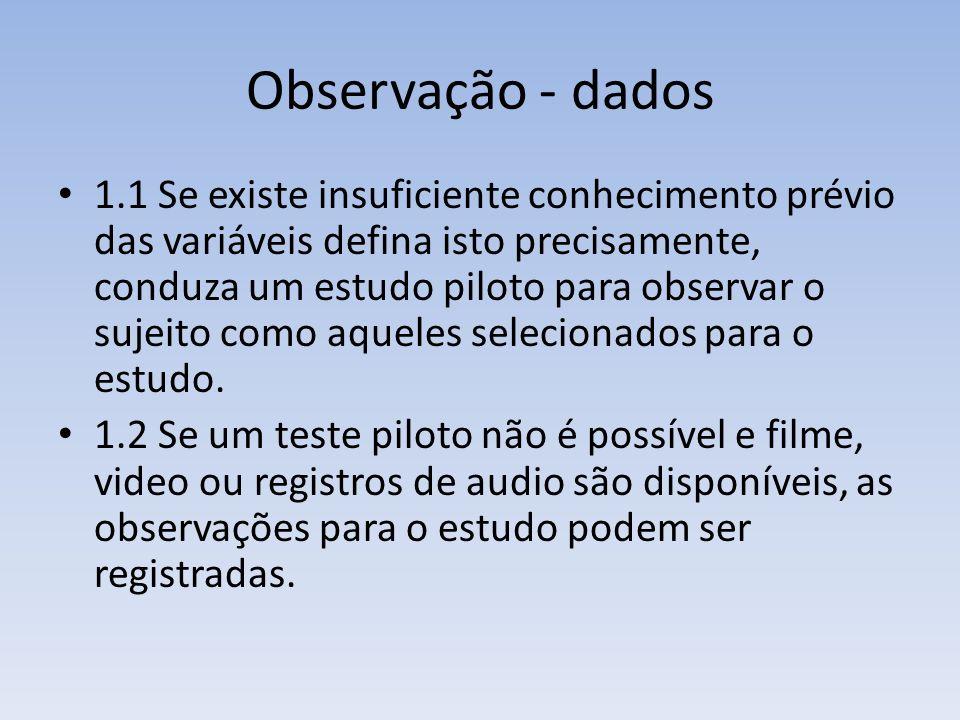 Observação - dados