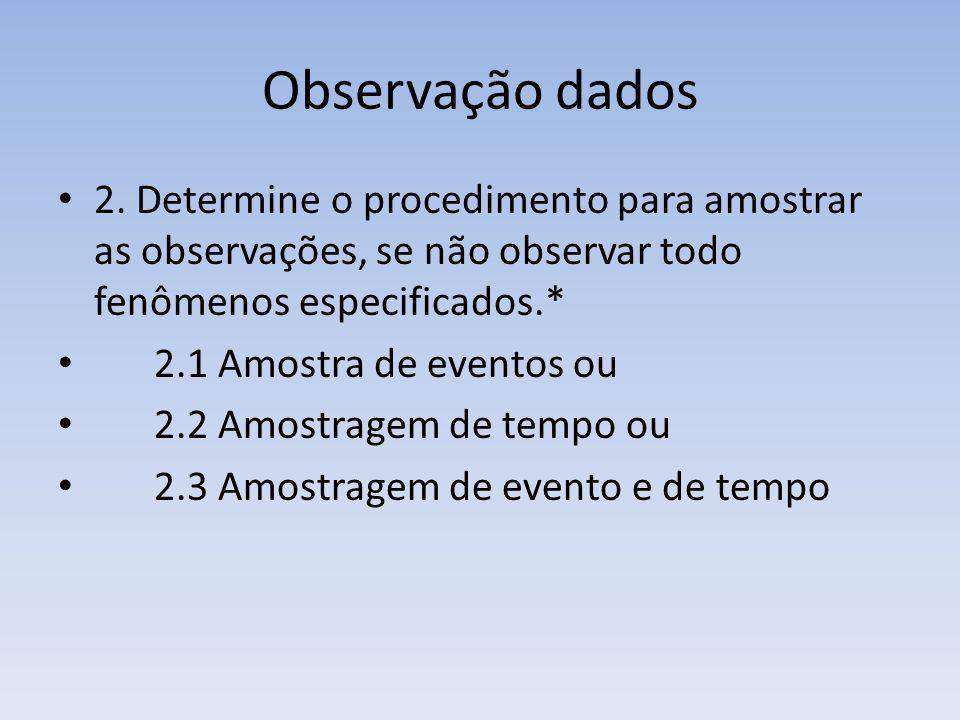 Observação dados 2. Determine o procedimento para amostrar as observações, se não observar todo fenômenos especificados.*