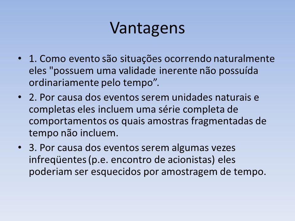 Vantagens 1. Como evento são situações ocorrendo naturalmente eles possuem uma validade inerente não possuída ordinariamente pelo tempo .