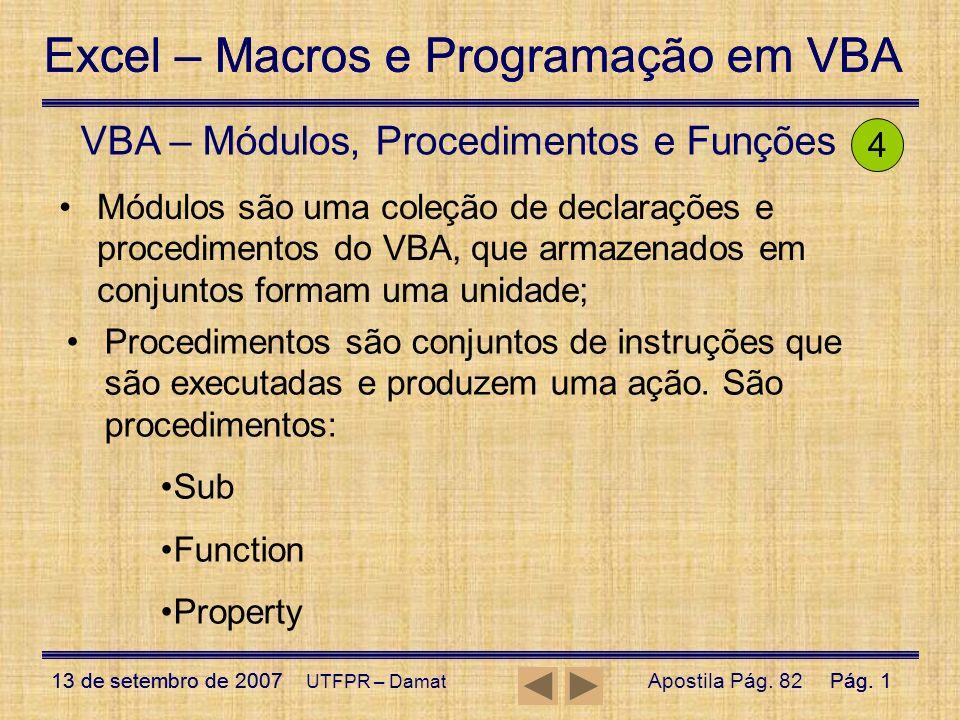 VBA – Módulos, Procedimentos e Funções