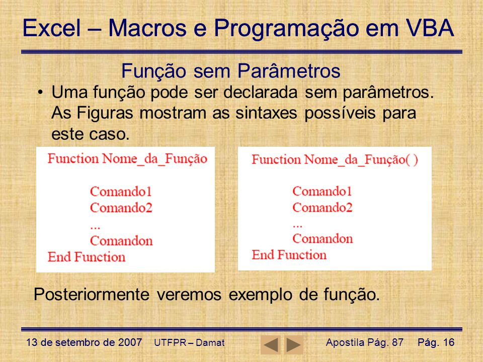 Função sem Parâmetros Uma função pode ser declarada sem parâmetros. As Figuras mostram as sintaxes possíveis para este caso.