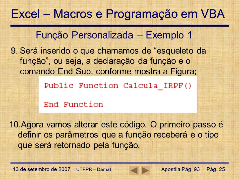 Função Personalizada – Exemplo 1