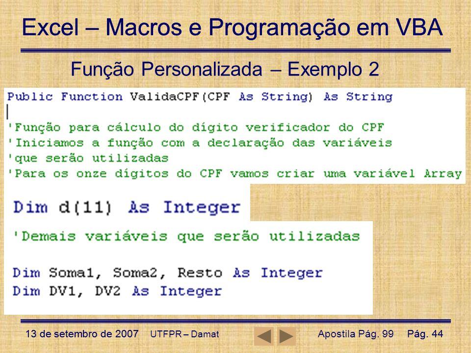 Função Personalizada – Exemplo 2