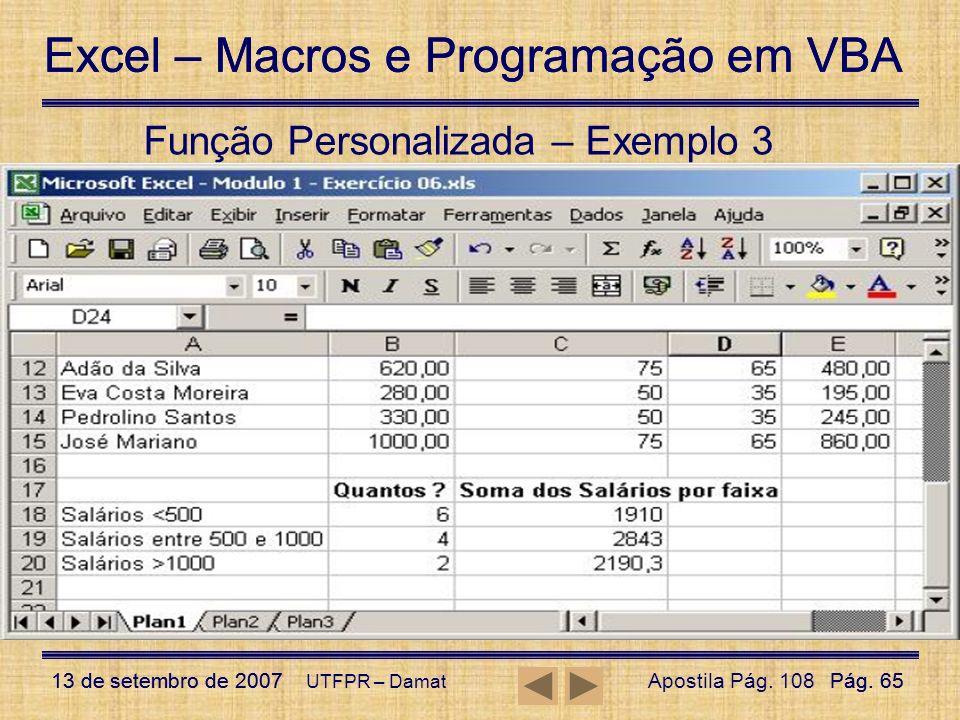 Função Personalizada – Exemplo 3