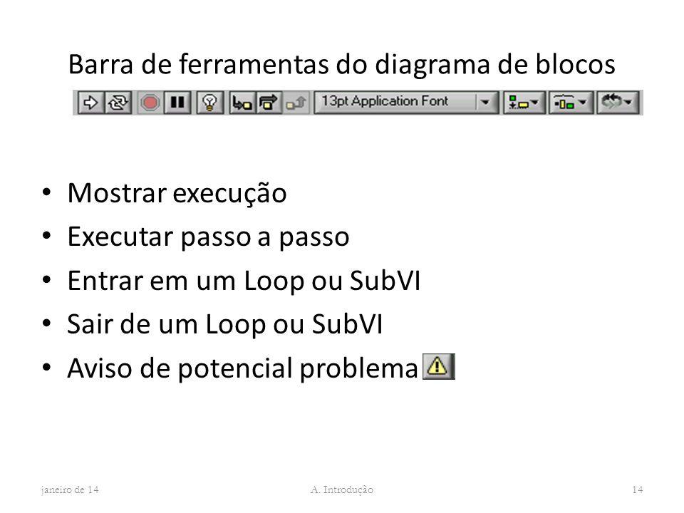 Barra de ferramentas do diagrama de blocos