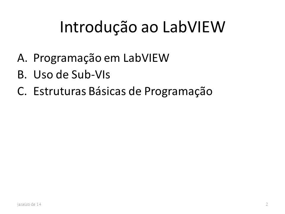 Introdução ao LabVIEW Programação em LabVIEW Uso de Sub-VIs