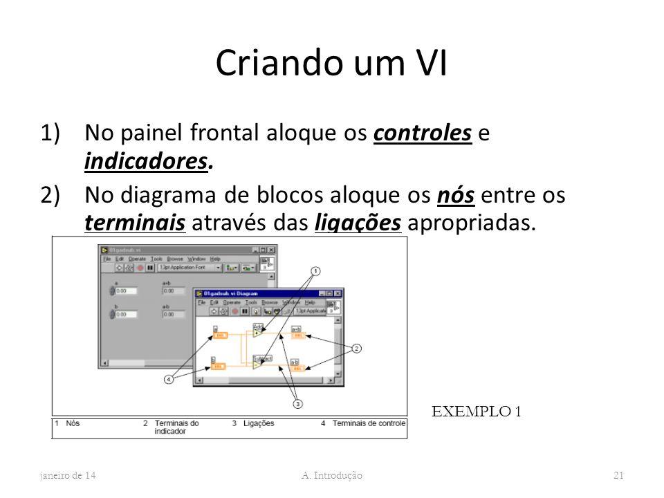 Criando um VI No painel frontal aloque os controles e indicadores.
