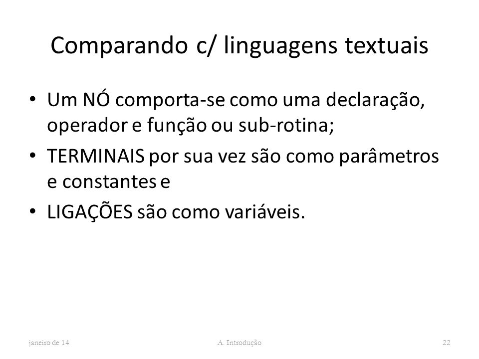 Comparando c/ linguagens textuais
