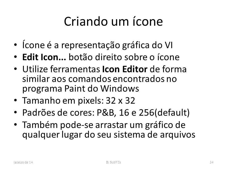 Criando um ícone Ícone é a representação gráfica do VI