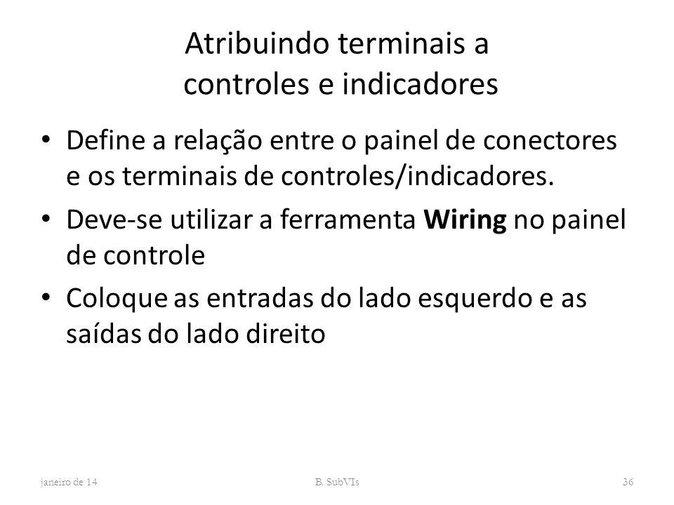 Atribuindo terminais a controles e indicadores