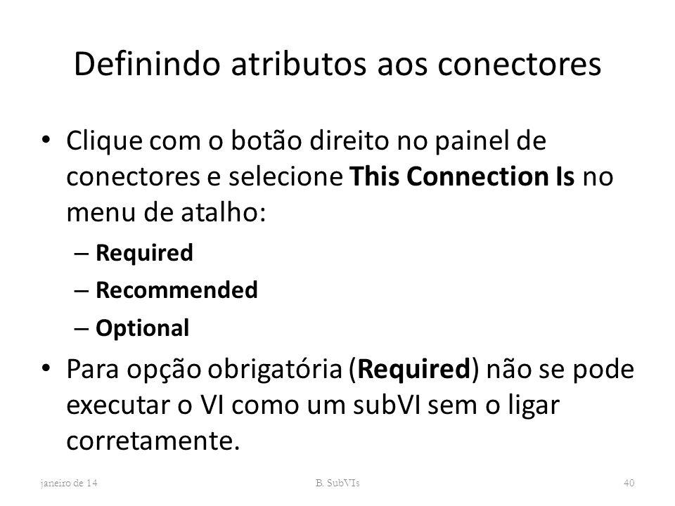 Definindo atributos aos conectores