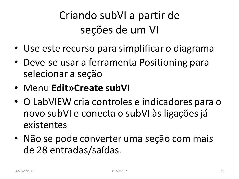 Criando subVI a partir de seções de um VI