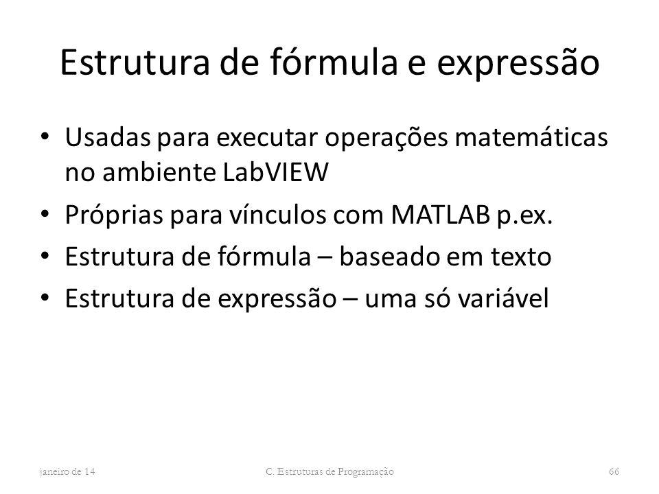 Estrutura de fórmula e expressão