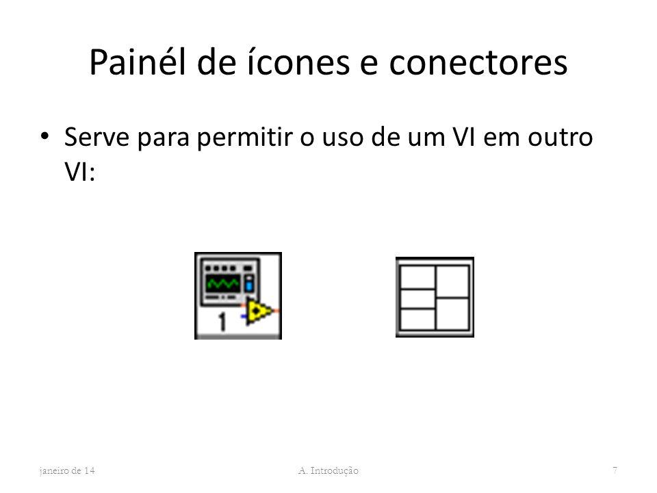 Painél de ícones e conectores