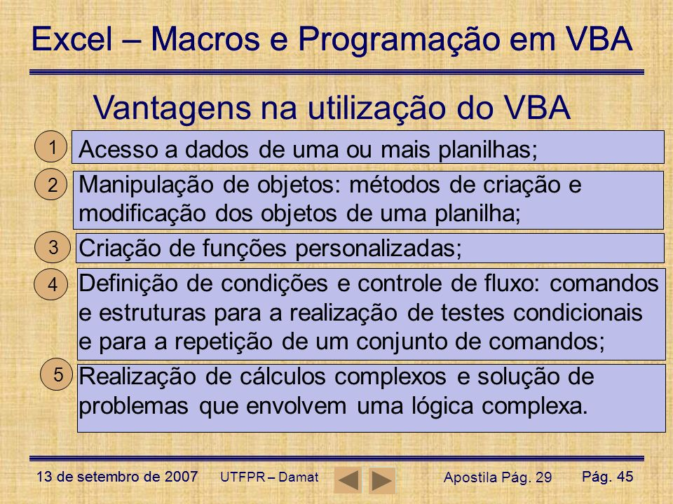 Vantagens na utilização do VBA