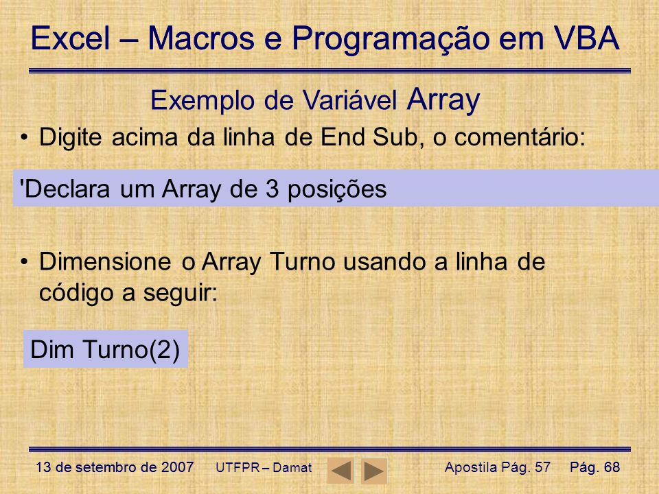 Exemplo de Variável Array