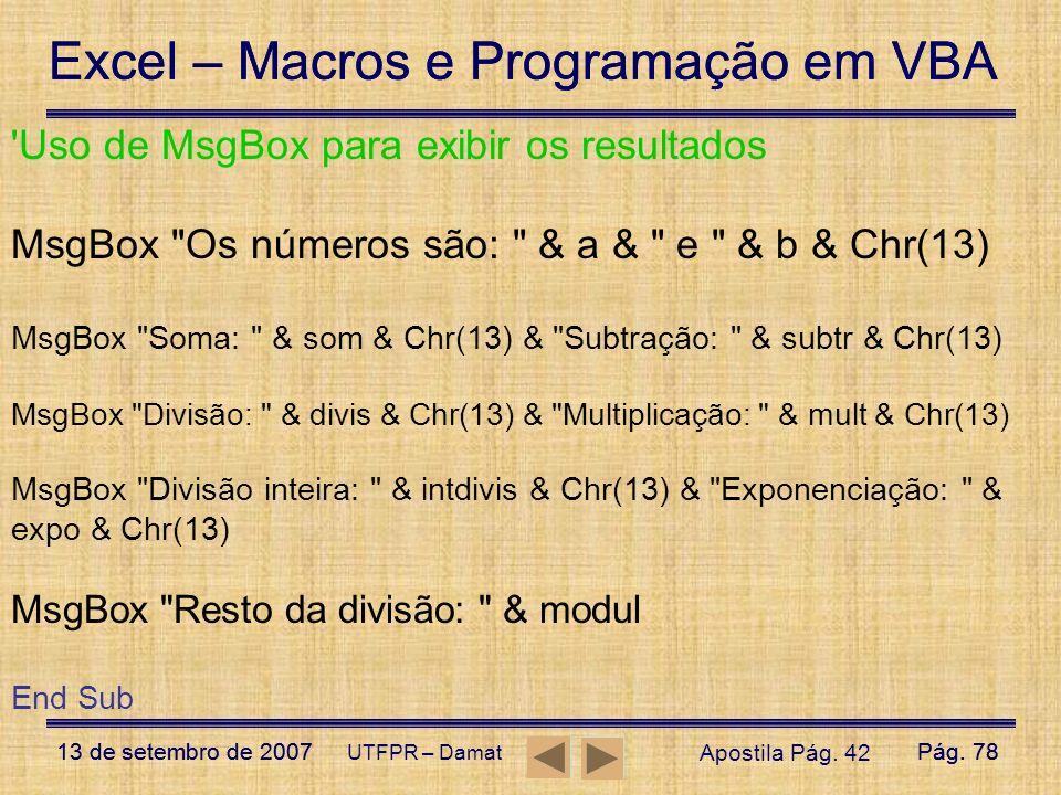 Uso de MsgBox para exibir os resultados