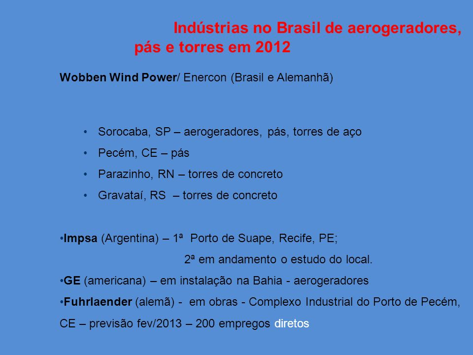 Indústrias no Brasil de aerogeradores, pás e torres em 2012