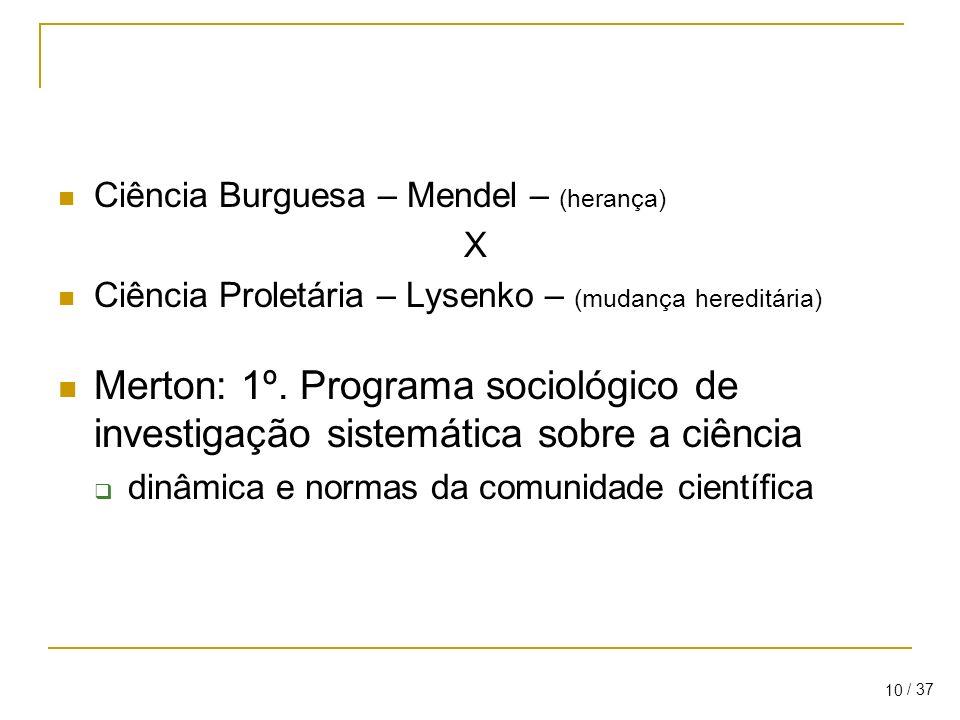 Ciência Burguesa – Mendel – (herança)